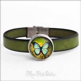 Leather Bracelet Green Vintage Butterfly, Noosa Style 1 Snap Button