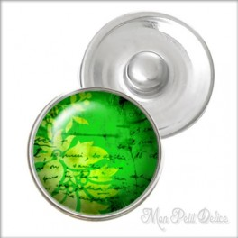 Green Floral Noosa Style Snap Button, chunk glass button
