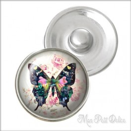 Vintage Butterfly Noosa Style Snap Button, chunk glass button