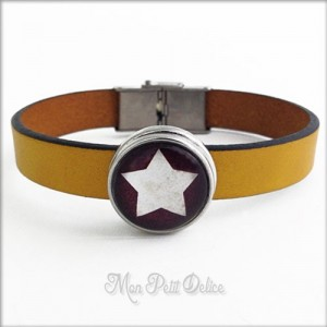Leather Bracelet Brown Star Noosa Style 1 Snap Button