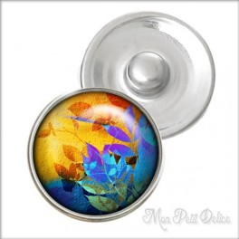 Colorful Floral Noosa Style Snap Button, chunk glass button