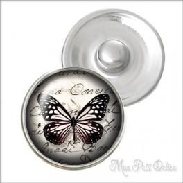 Botón a Presión Mariposa Negra Vintage Estilo Noosa , Botones a presión easy button