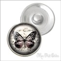 Vintage Black Butterfly Noosa Style Snap Button, chunk glass button