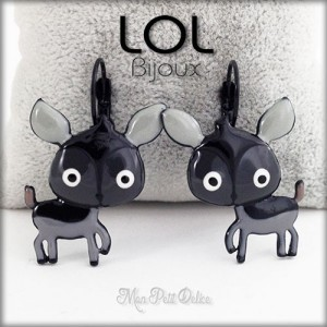 Grey Deer LOL Bijoux Lever Back Enamel Earrings