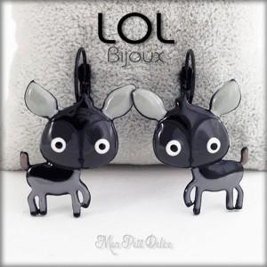 Grey Deer LOL Bijoux Lever Back Enamel Earrings