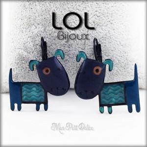 Pendientes Perro Albert Azul LOL Bijoux, pendientes con cierre catalán de esmalte