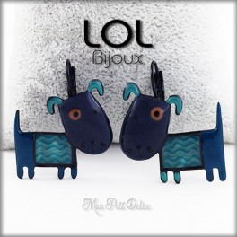 Albert Blue Dog LOL Bijoux Lever Back Enamel Earrings