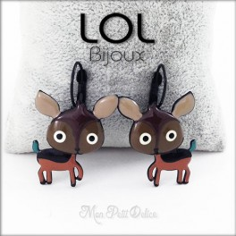 Brown Deer LOL Bijoux Lever Back Enamel Earrings