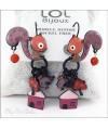 Taupe Large Squirrel LOL Bijoux Lever Back Enamel Earrings