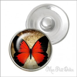 Vintage Red Butterfly Noosa Style Snap Button, chunk glass button