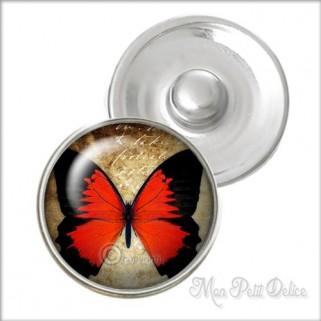 Botón a Presión Mariposa Roja Vintage Estilo Noosa , Botones a presión easy button