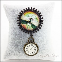 Vintage Green Dragonfly Brooch with Clock Charm