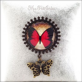 Vintage Red Butterfly Brooch with Butterfly Charm