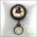 Vintage Steampunk Cat Brooch with Clock Charm