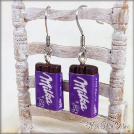 Milka Chocolate Bar Dangle Earrings, polymer clay miniature