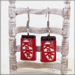 Kit Kat Chocolate Dangle Earrings Polymer clay miniature ( kitkat earrings )
