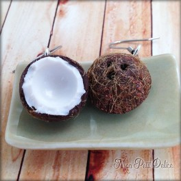 Coconut Dangle Earrings, polymer clay miniature