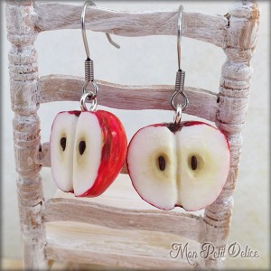 pendientes-manzana-roja-fruta-miniatura-fimo-dulce