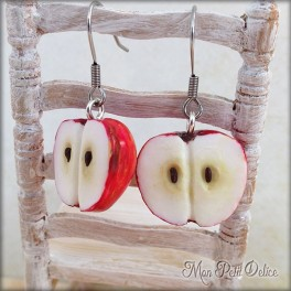 Red Apple Dangle Earrings, polymer clay miniature
