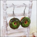 Green Mint and Chocolate Donut Dangle Earrings, polymer clay miniature