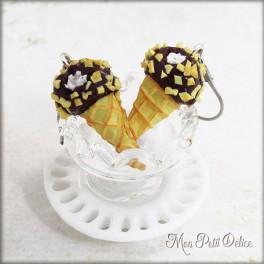 Pendientes Largos Cono Helado de Chocolate, miniatura de fimo