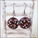 Chocolate Donut Heart Dangle Earrings, polymer clay miniature