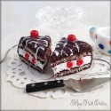 Chocolate and Cherry Cake Dangle Earrings, polymer clay miniature