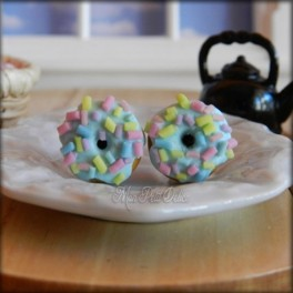 Blue Donut with Sprinkles Earrings
