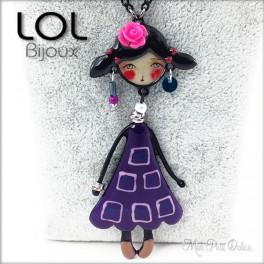 Les Pépettes - Collar largo muñeca de esmalte lila Indidi , lol bijoux lolilota pepette collier
