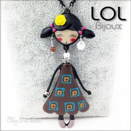 Les Pépettes - Collar largo muñeca de esmalte marron Indidi , lol bijoux lolilota collier sautoir