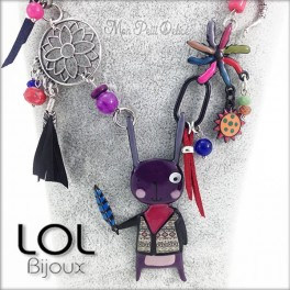 Purple Navajo Bunny LOL Bijoux Necklace, Enamel Necklace lolilota collier