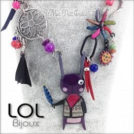Purple Navajo Bunny LOL Bijoux Necklace, Enamel Necklace lolilota collier