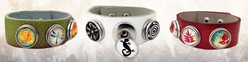 Leather Bracelets 3 Buttons
