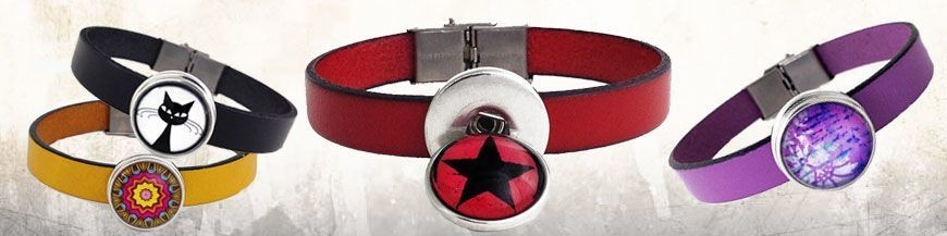 Leather Bracelets 1 Button